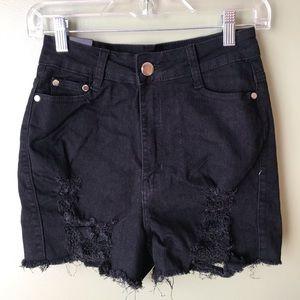 Brand New Black Distressed High Rise Jean Shorts